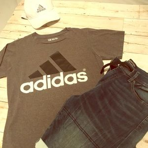 Adidas 3 stripe tee gray